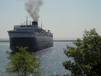 S.S. Badger coming into Manitowoc